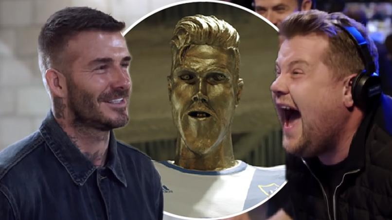 James Corden Pranks David Beckham With Ugly Fake Statue